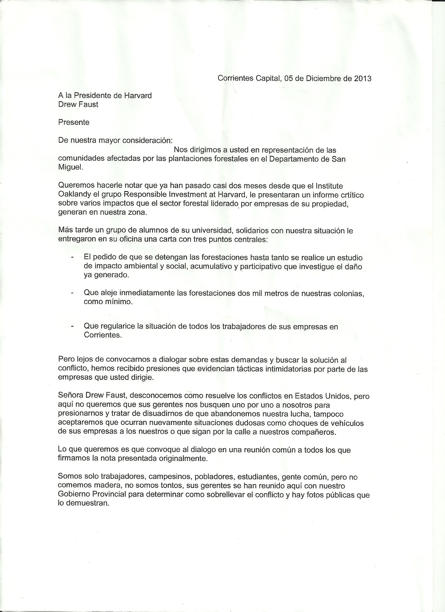 December 2013 responsible investment at harvard coalition dec 5 letter spanish page 1 stopboris Choice Image